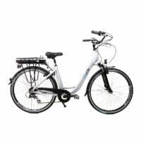 28″ Zoll Alu Damen Elektro Fahrrad E Bike Pedelec Shimano 8 Gang 36V 13Ah silber